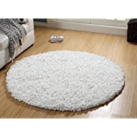 WARISI - Shag Collection - PAPERSHAG Area Rug (5-Feet - Round, White)