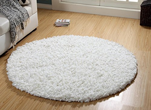 WARISI - Shag Collection - PAPERSHAG Area Rug (5-Feet - Round, White) by WARISI
