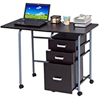 Foldable Computer Laptop Desk with 3 Drawers - By Choice Products (Black)