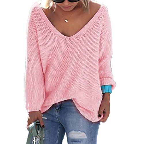 ASCHOEN Damen Pullover mit V Ausschnitt Pulli Sexy Langarm Tops Sweatshirt Pink M