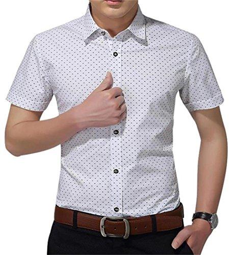 - YTD Mens 100% Cotton Casual Slim Fit Short Sleeve Button Down Printed Plaid Dress Shirts (Large, H-White)