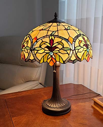 Tiffany Style Table Lamp Banker 23″ Tall Stained Glass Green Tan Orange Yellow Floral Flower Vintage Antique Light D cor Living Room Bedroom Handmade Gift AM313TL16B Amora Lighting