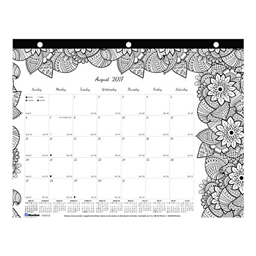Blueline 2017-2018 DoodlePlan Academic Coloring Desk Pad, Botanica, 11 x 8.5 inches (CA2917211-18)