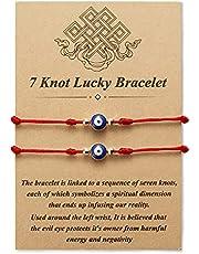 Desimtion Evil Eye 7 Knot Lucky Bracelets Adjustable Red String Amulet for Women Men