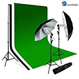 Limostudio Photography Studio Lighting Kit Black Umbrella Muslin Backdrop White Black Green Bacdkrop Kit_Agg707