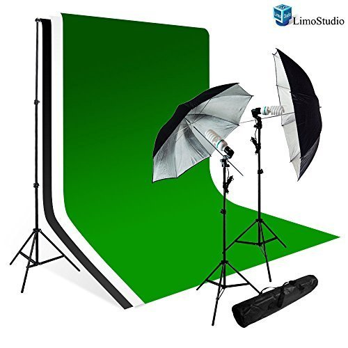 Limostudio Photography Studio Lighting Kit Black Umbrella Muslin Backdrop White Black Green Bacdkrop Kit_Agg707 by LimoStudio