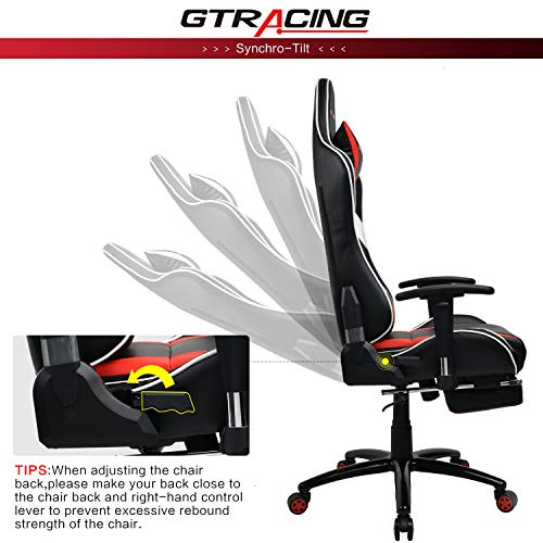 Gtracing Gaming Desk Chair With Footrest Ergonomic Racing