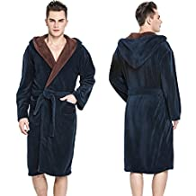 Hooded Herringbone Men's Navy Blue Soft Spa Bathrobe with Brown Kimono Shawl Collar