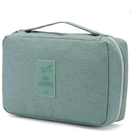 Boic Travel Hanging Toiletry Bag Portable Makeup Waterproof Large-Capacity Toiletry Cosmetic Travel Organizer Shower Bag for Women Men Green