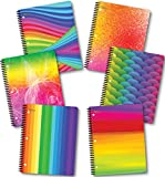 1 Subject 70 Sheets 8' x 10.5' wirebound Spiral Notebooks Heavy Duty Laminated Covers,3 Hole Punch, New Generation Assorted Rainbow Notebook Designs (6 Pack Spiral NOTEBOOKS Wide Ruled)