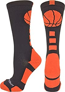 MadSportsStuff Basketball Logo Athletic Crew Socks, Medium - Black/Orange