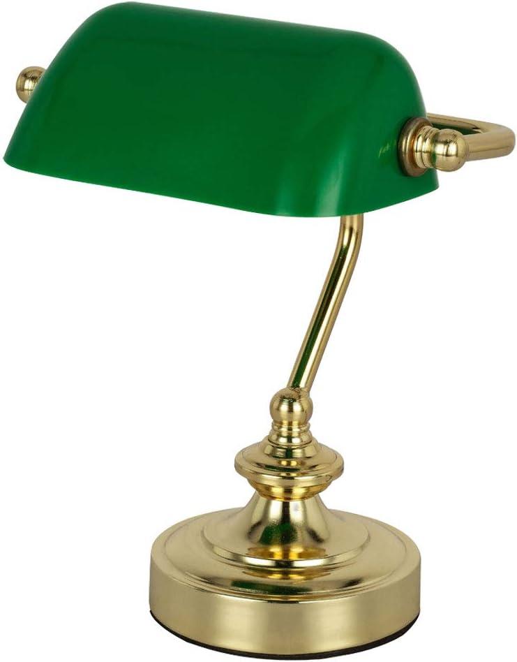 Lámpara de escritorio de latón retro, lámpara de mesa, lámpara de banquero verde (altura 24 cm, lámpara de mesita de noche)