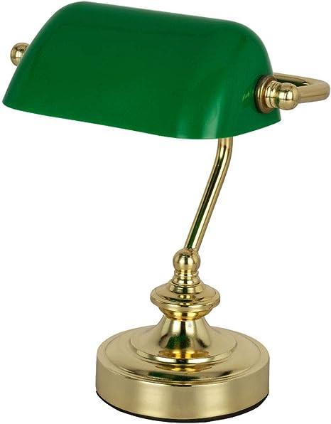 Globo 24917 Lampada Da Tavolo Retro Per Ufficio Camera Da Letto Luce Notturna Colore Verde Amazon It Illuminazione