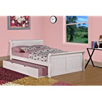 Donco Kids 689461 Full Sleigh Twin Trundle Bed, White