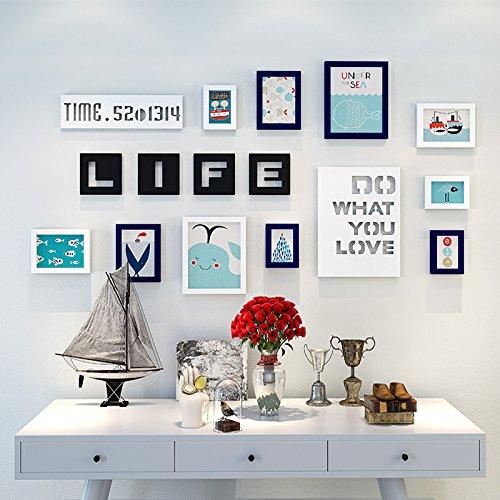 Bilderrahmen der Wall Kombination Kinder Zimmer cartoon Foto an der Wand mit Buchstaben keine Kratzer Nägel, weiss/dunkelblau Cartoon picture element im Mittelmeer