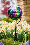Evergreen Garden Mosaic Glass Gazing Ball (Oil Slick Stainless Steel)