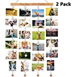 Homemaxs 2 Pack Hanging Photo Display Picture Frames Collage with 40 Clips 39×15 inch, Pictures Organizer Wall Decor for Hanging Photos, Prints, Artwork, Natural Beech Wood