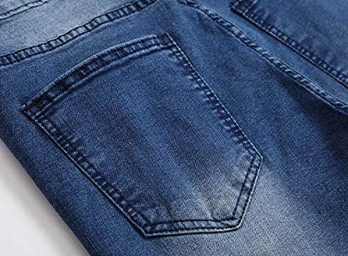 Semplice Casual Media In A Lanceyy Dritto Pantaloni Con Uomo Vita Jeans Taglio Denim Da Blu Stile FT6Bzq