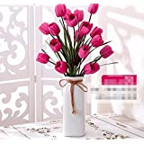 XHOPOS HOME Artificial flowers Living room bedroom simple modern red tulips Home Wedding Bouquet Decoration Flowers