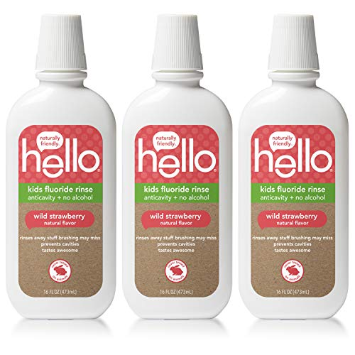 Hello Oral Care Kids ADA Approved Anticavity Fluoride Rinse, Vegan, Alcohol Free, and SLS Free, Natural Wild Strawberry Flavor, 3 Count ()