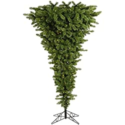"Vickerman 306545 - 7.5' x 60"" Green Upside Down 500 Warm White Italian LED Lights Christmas Tree (A107476LED)"