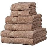 Linens Limited Set de 6 serviettes d'hôtel SUPREME en coton égyptien, 500 g/m², café au lait