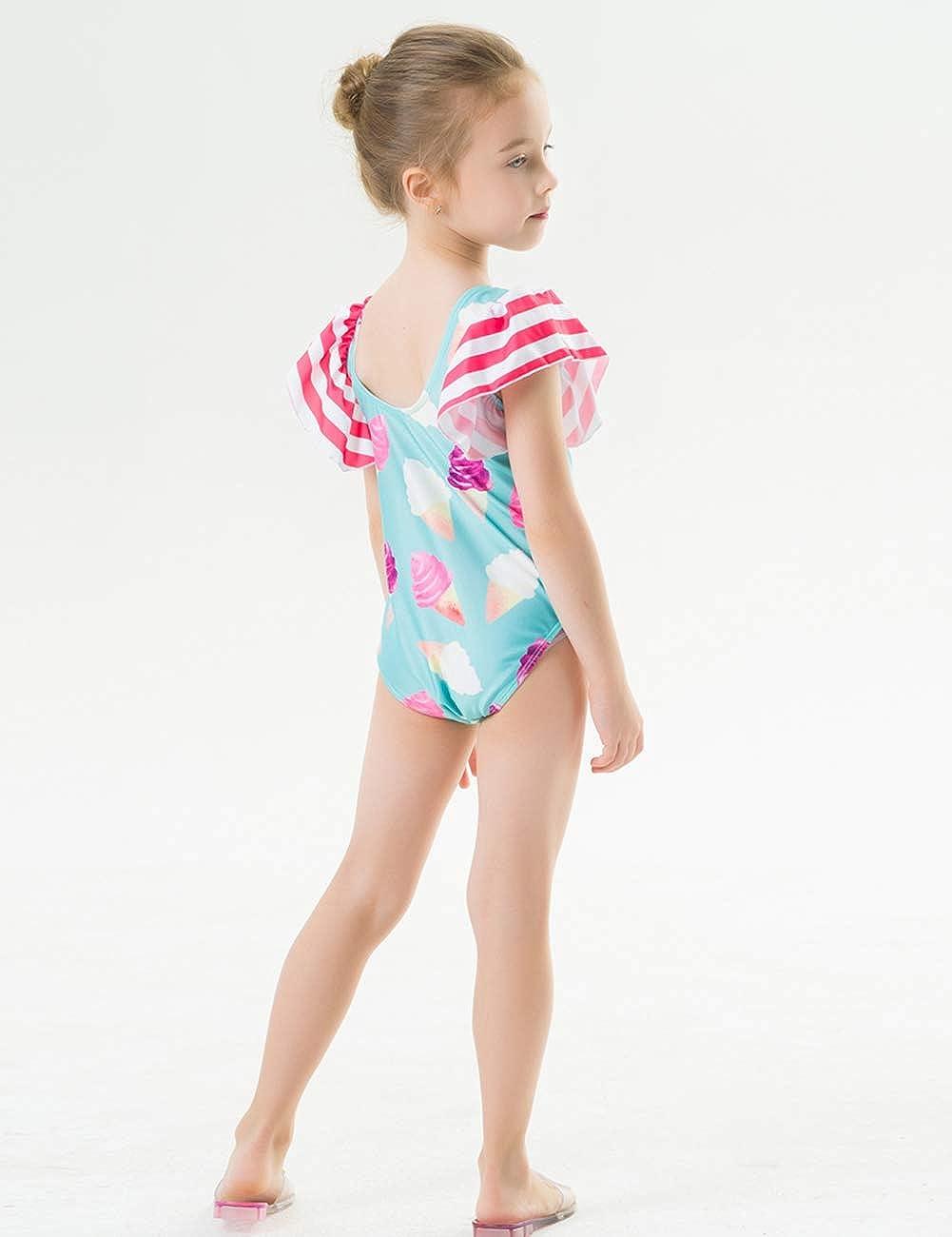 Kids Girls One Piece Swimsuit Colorful Ice Cream Pattern Swimwear Green 2-3T
