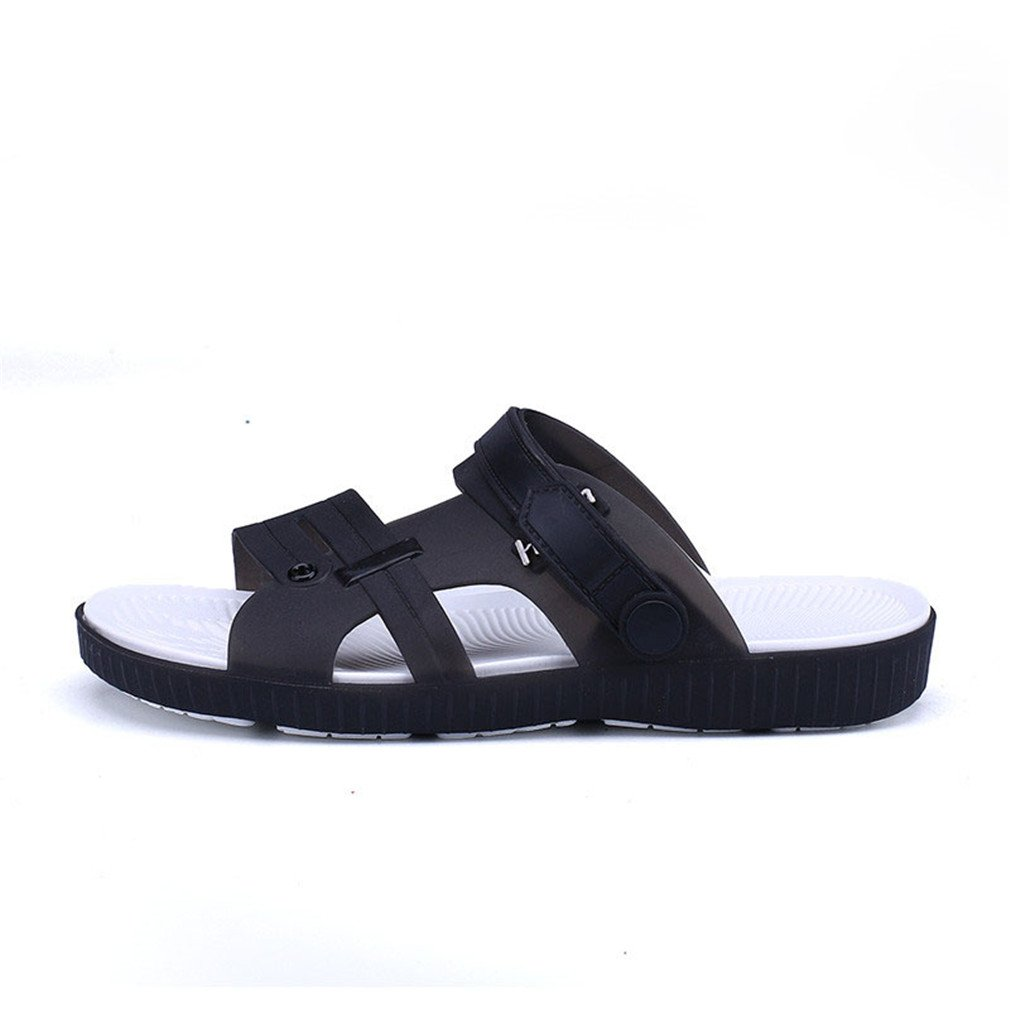 Summer Slippers Men Casual Leisure Soft Eva Massage Beach Slippers Water Shoes black 9.5