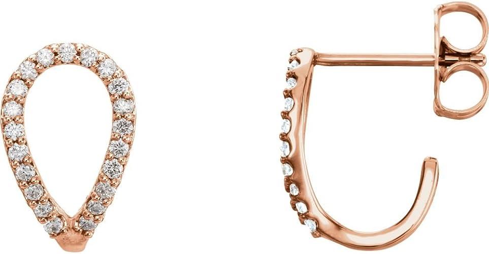 14K Rose 1 CTW Diamond Hoop Earrings