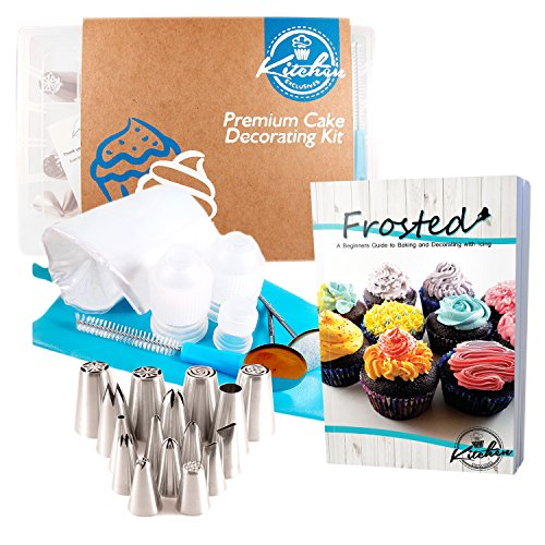 33 Pcs Premium Cake and Cupcake Decorating Icing Tips Set includes Small, Medium and Russian Icing Tips plus extra accessories