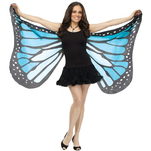 Fun World Women's Blue Fabric Butterfly Wings,