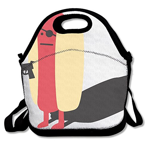 Diabolical Hot Dog Gun Lunch Tote Bag Bags Awesome Lunch Handbag Lunchbox Box For School Work Outdoor Diabolical Box