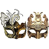 Gold Men Mask and Gold Black Women Mask Couple Venetian Masquerade Mask