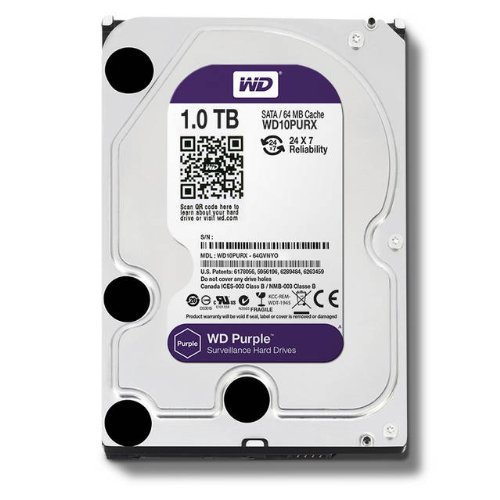 WD Purple 1TB Surveillance Hard Disk Drive - 5400 RPM Class SATA 6 Gb/s 64MB Cache 3.5 Inch - WD10PURX [Old Version] by Western Digital