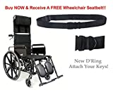 Karman Healthcare KM5000F16 Aluminum Lightweight Reclining Wheelchair, Black, 24 Inches Rear Wheels and 16 Inches Seat Width