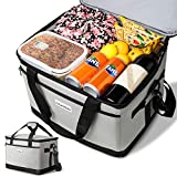 OlarHike 30L Large Cooler Bag, Collapsible and Insulated Soft Lunch Leakproof Cooler Bag for Camping, Picnic, BBQ, Family Outdoor Activities (Grey)