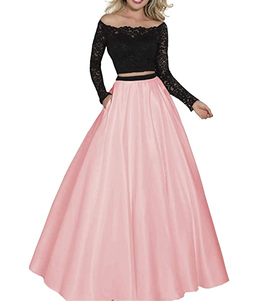 Clothfun Womens Two Piece Prom Dress Lace Pageant Dress Party Gowns Pm36