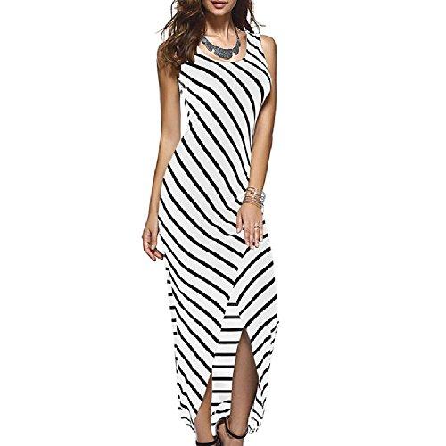 YoungG-3D Women Summer Dress Sundress Striped Long Maxi Dress Tunic Boho Beach Dress Robe Vestidos White (Regal Lace Robe)