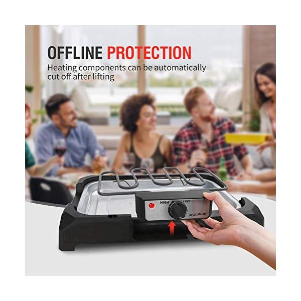 Aigostar Lava Pro - Griglia senza fumo, griglia per barbecue elettrica con piedini e tavolo da esterno. Antiaderente con… 6