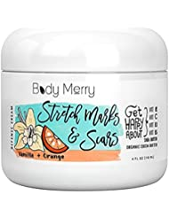 Body Merry Vanilla Orange Stretch Marks & Scars Defense Cream - Daily Scented Moisturizer w Organic Cocoa Butter + Shea + Oils to help remove & face old/new scars & stretch marks - Perfect for Men & W