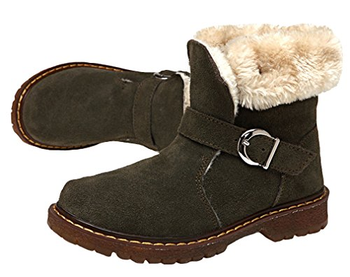 Cotton Lined Ankle Strap Snow Hiking Snow Lace Fur Sneaker Waterproof Warm Short Pointss Boots Suede Boys Boot Army Leather Boot Winter Girls up Green Shoes qqUP6