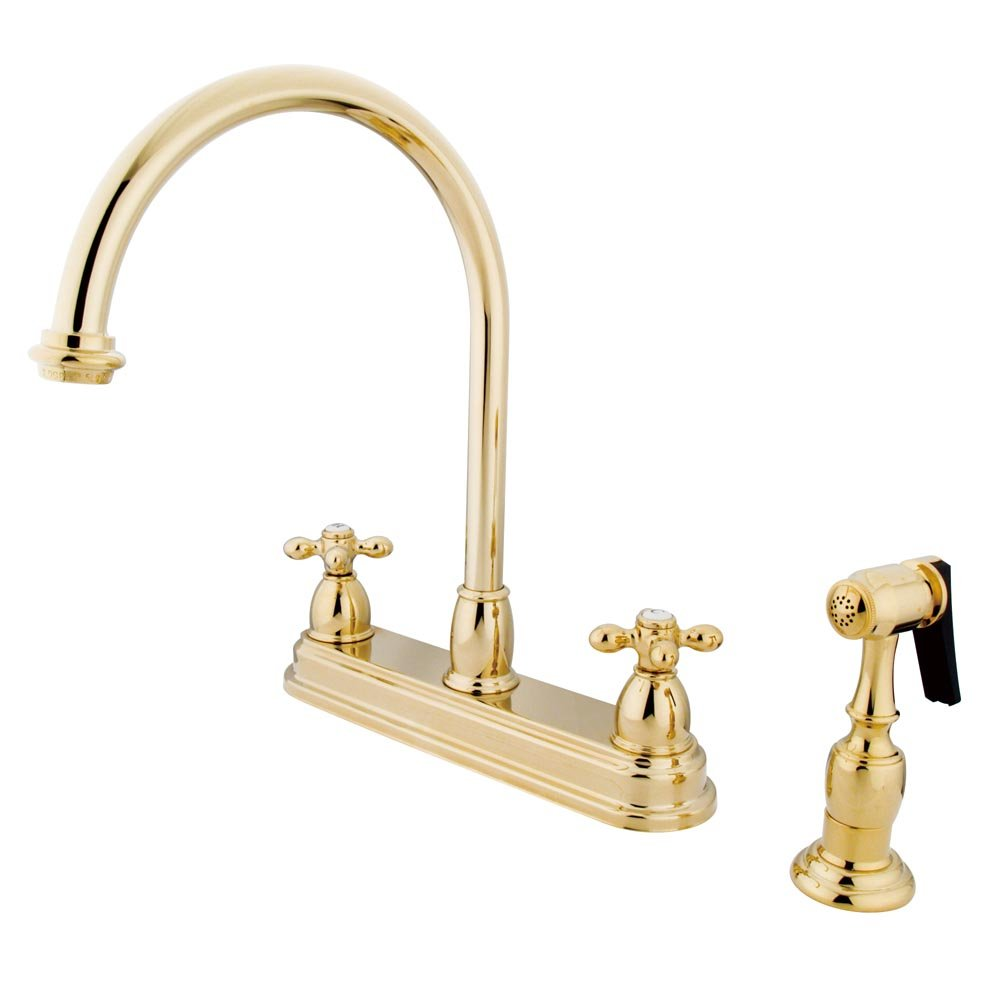 Kingston Brass KB3752AXBS Restoration Deck Mount Kitchen Faucet, Cross Handle with Brass Sprayer, 8-1 2-Inch, Polished Brass