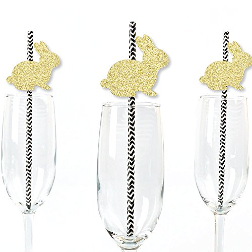 Gold Glitter Bunnies Party Straws - No-Mess Real Gold Glitter Cut-Outs & Decorative Easter Paper Straws - Set of 24