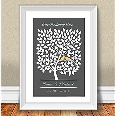 Personalized Wedding Guestbook 20x30 Inch, #GB-005, 100-150 Signatures - Tree - Wedding Keepsake - Guest Book Print - Wedding Tree - Wedding Poster - Wedding Print - Guest Book Tree - Wedding Guest Book Tree Alternative - Unique Wedding Guestbook Poster - Gift Idea - Wedding Tree - Anniversary Gift.3 Gb-005