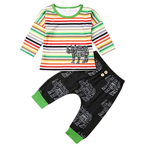 Infant Baby boy Girl Striped Outfits Fall Kids Rainbow Cotton T-Shirt Tops Cartoon Animal Legging Pants Set Clothes (Rhinoceros, 18-24 Months)