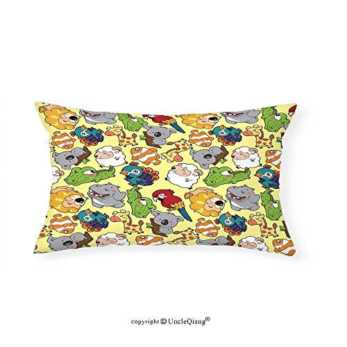 VROSELV Custom pillowcasesChildren Funny Animals Hippo Giraffe Koala Parrot Crocodile Zoo Jungle Kids Nursery Graphic for Bedroom Living Room Dorm Multicolor(16''x20'') by VROSELV