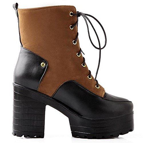 COOLCEPT Women Fashion High Heel Platform Lace Up Ankle Martin Boots Yellow W9GdldRl