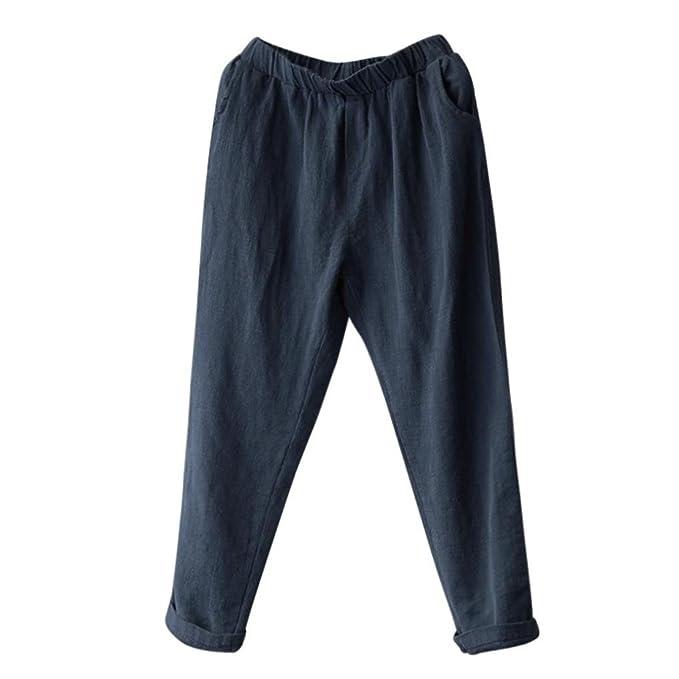 d528458dd4 DAYLIN Pantalones Harem de Lino Mujer Casual Suelto Pantalones Anchos Talla  Grande  Amazon.es  Ropa y accesorios