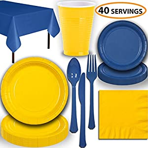 Disposable Party Supplies, Serves 40 - Yellow and Blue - Large and Small Paper Plates, 12 oz Plastic Cups, heavyweight Cutlery, Napkins, and Tablecloths. Full Two-Tone Tableware Set