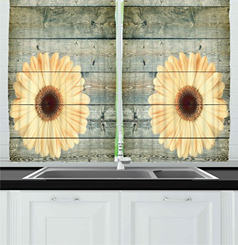 Ambesonne Kitchen Decor Collection, Rustic Wooden Design Sunflower Image Floral Themed Interior Design Kitchenware, Window Treatments for Kitchen Curtains 2 Panels, 55X39 Inches, Grey Light Yellow